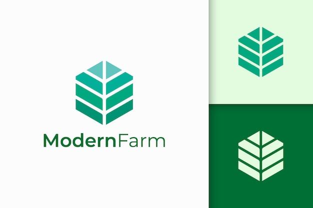 Logo de l'agriculture ou de l'agriculture moderne en forme de géométrie abstraite