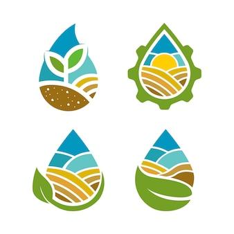 Logo de l'agriculture avec concept de goutte d'eau et éléments de la nature
