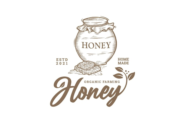 Logo de l'agriculture de miel biologique dessiné à la main vintage
