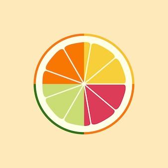 Logo d'agrumes, icône, emblème. citron, citron vert, orange, pamplemousse. ensemble juteux de tranches de fruits différents. conception plate. illustration vectorielle.