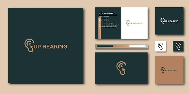 Logo d'aide auditive et conception d'identité de marque et carte de visite