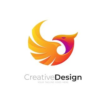 Logo d'aigle avec un design coloré, icône animale 3d