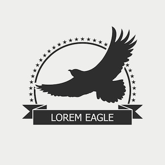 Logo de l'aigle. modèle d'emblème avec oiseau, étoiles et ruban. illustration vectorielle.