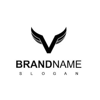 Logo d'aile avec le symbole initial de la lettre v