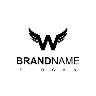 Logo d'aile avec le symbole initial de la lettre w