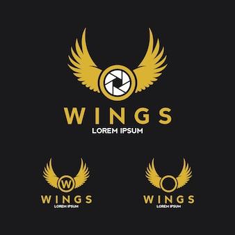 Logo d'ailes d'aigle avec l'icône de l'appareil photo