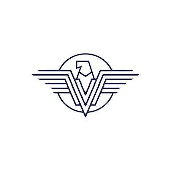 Logo des ailes de lettre v falcon eagle