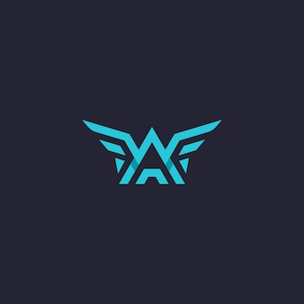 Logo des ailes de la lettre wa