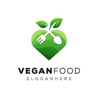 Logo d'amant végétalien de nourriture moderne, logo de nourriture d'amour de légumes