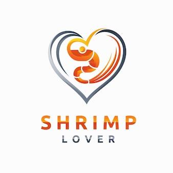 Logo d'amateurs de crevettes avec concept d'amour