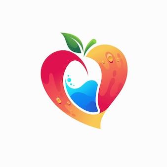 Logo d'amateurs de mangue avec le concept d'amour