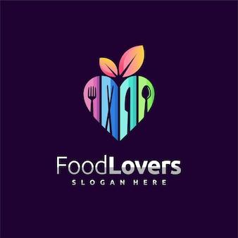 Logo d'amateurs de nourriture avec le concept de coutellerie
