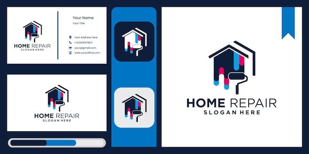 Logo de l'amélioration de l'habitat, conception de modèle de maison, peinture de maison, logo de l'entreprise de peinture de maison immobilière