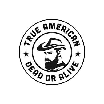 Logo américain de rodéo occidental. vecteur premium