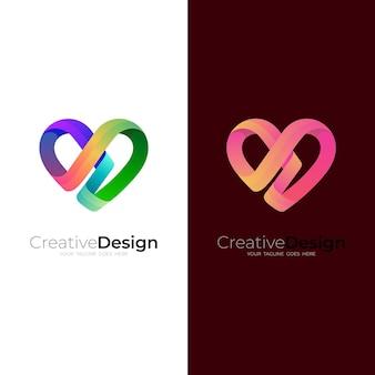 Logo D'amour Abstrait Avec Un Design Coloré Vecteur Premium