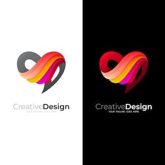 Logo d'amour et combinaison de conception d'aile, icônes colorées 3d