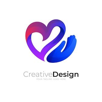Logo d'amour avec la combinaison de conception de main, icône colorée