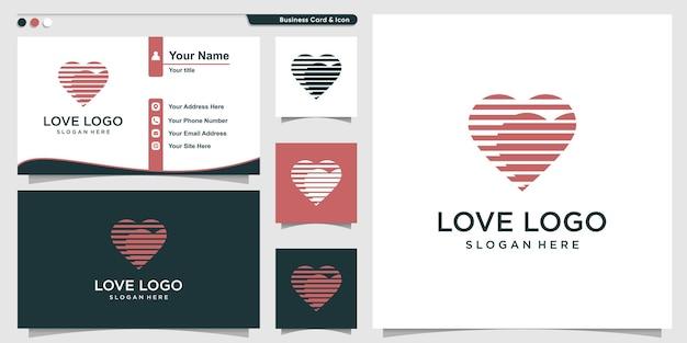Logo d'amour avec concept de contour moderne et conception de carte de visite vecteur premium