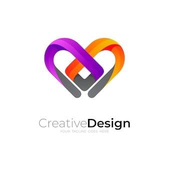 Logo d'amour avec la conception de la ligne, icônes colorées 3d
