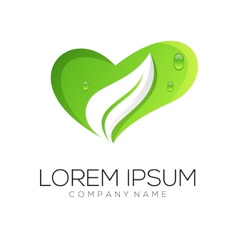 Logo d'amour de feuille