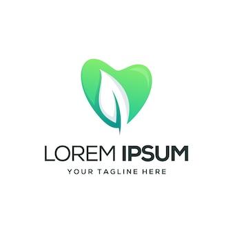 Logo de l'amour et des feuilles