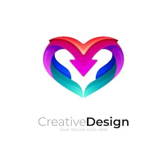 Logo d'amour avec illustration de conception de flèche, modèle d'icône colorée