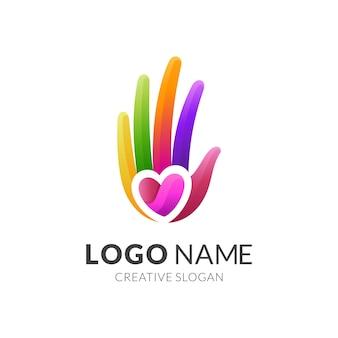Logo d'amour de main, main et amour, logo de combinaison avec simple