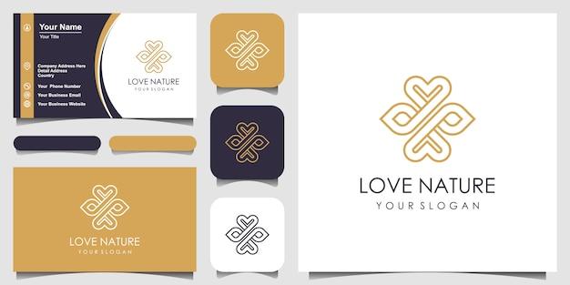 Logo d'amour minimaliste feuille et symbole élégant avec style d'art en ligne. logo pour la beauté, les cosmétiques, le yoga et le spa. conception de logo et de carte de visite.
