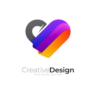 Logo d'amour et modèle de logo coloré