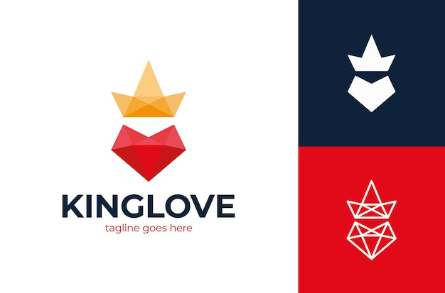 Logo d'amour de roi logo d'amour de coeur poly et de roi de couronne