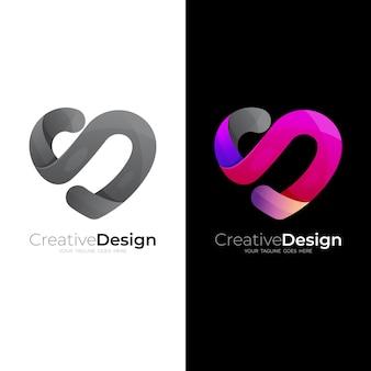 Logo d'amour simple avec design social, icônes de charité