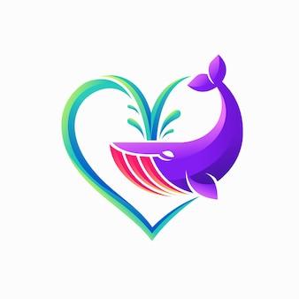 Logo des amoureux des baleines avec concept d'amour