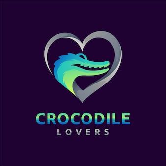 Logo d'amoureux de crocodile avec le concept d'amour