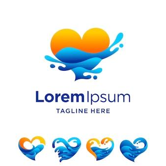 Logo amoureux du coucher du soleil avec concept multiple
