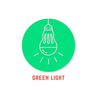 Logo de l'ampoule led à fine ligne de lumière verte. concept de lumière du soleil, éducation, respectueux de l'environnement, ressource, remue-méninges, consommation. plat, tendance, tendance, moderne, logotype, conception, vecteur, illustration, blanc, fond
