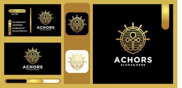 Logo d'ancre de navire, conception d'ancre d'illustration vectorielle pour le logo de conception de logo de marin pour la marine avec une couleur or luxueuse et tendance