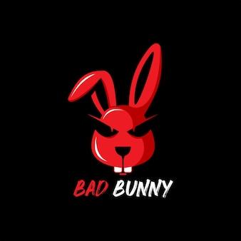 Logo animal mascotte mauvais lapin illustration