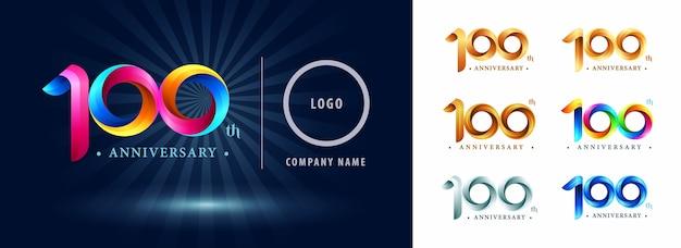 Logo d'anniversaire de célébration de cent ans, lettres de nombre stylisées origami, logo de rubans de torsion