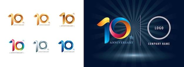 Logo d'anniversaire de célébration de dix ans, lettres de nombre stylisées origami, logo de rubans de torsion