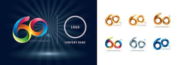 Logo d'anniversaire de célébration de soixante ans, lettres de nombre stylisées origami, logo de rubans de torsion