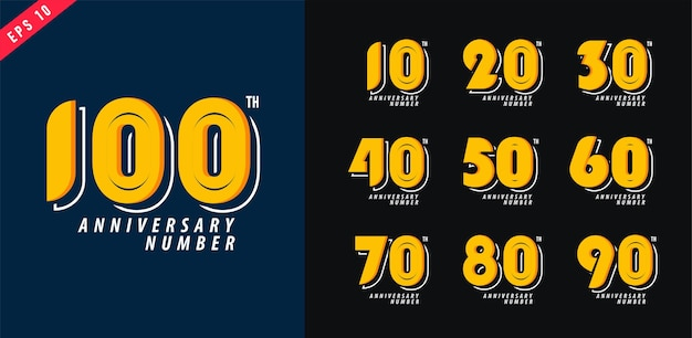 Logo anniversaire et date défini conception de symbole numérique moderne pour illustration vectorielle affiche 10-100