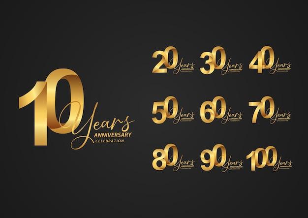 Logo d'anniversaire serti de couleur dorée