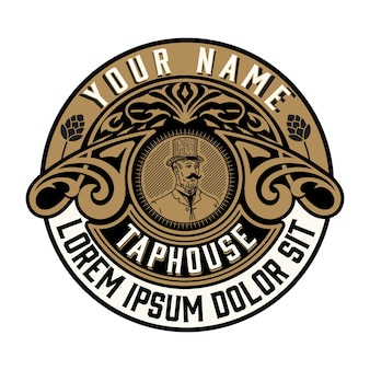 logo antique pour l'emballage avec de vieux ornements