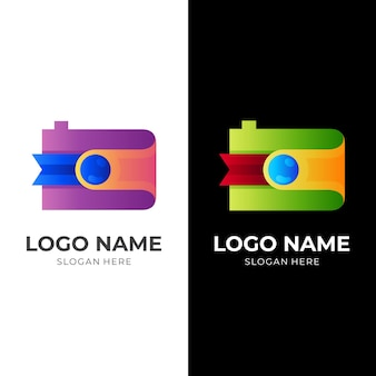 Logo de l'appareil photo, appareil photo et ruban, combinaison de logo avec un style coloré 3d