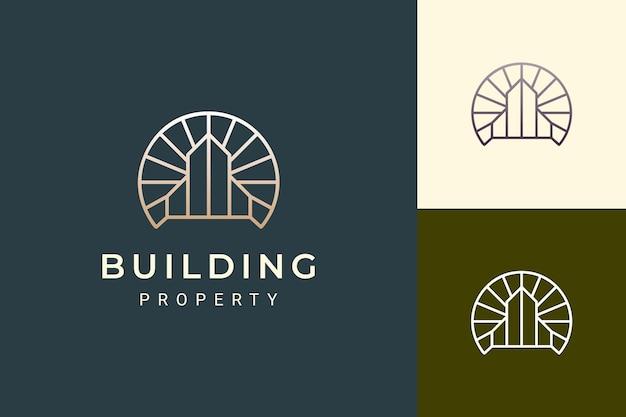 Logo d'appartement ou d'hôtel dans le luxe et la forme futuriste