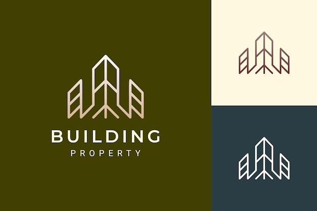 Logo d'appartement ou d'immobilier dans le luxe et la forme futuriste