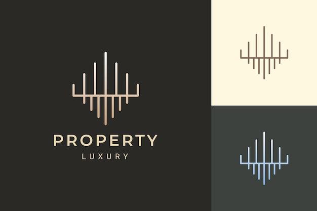 Logo d'appartement ou de propriété dans la forme de luxe et futuriste