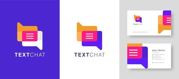 Logo d'appel vidéo coloré chat message texte logo chat en ligne application mobile chat avec carte de visite