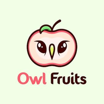 Un logo apple avec logo de cartoon hibou face