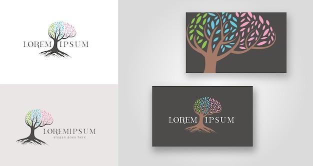 Logo d'arbre de cerveau de santé mentale